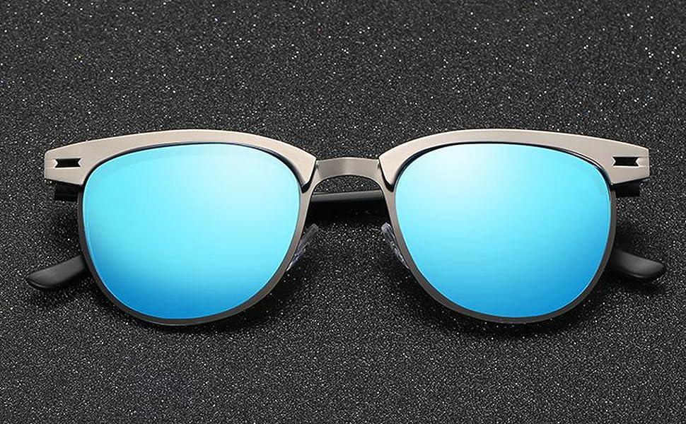 26c8dcae228df Amazon.com  LUOMON Polarized Clubmaster Sunglasses with Black Frame ...