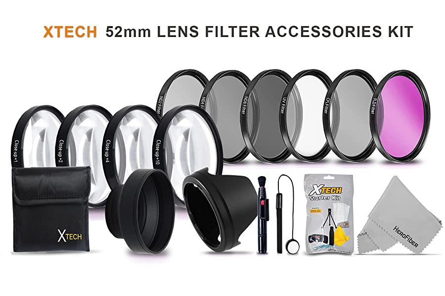 4 Close-up Macro Filter Set Lens Hood Cleaning Tools and More Cap ND4 52MM Xtech Professional 10-PC Lens Filter Kit /& Accessory Bundle Includes UV CPL Cases FLD ND2 ND8 +1,+2,+4,+10