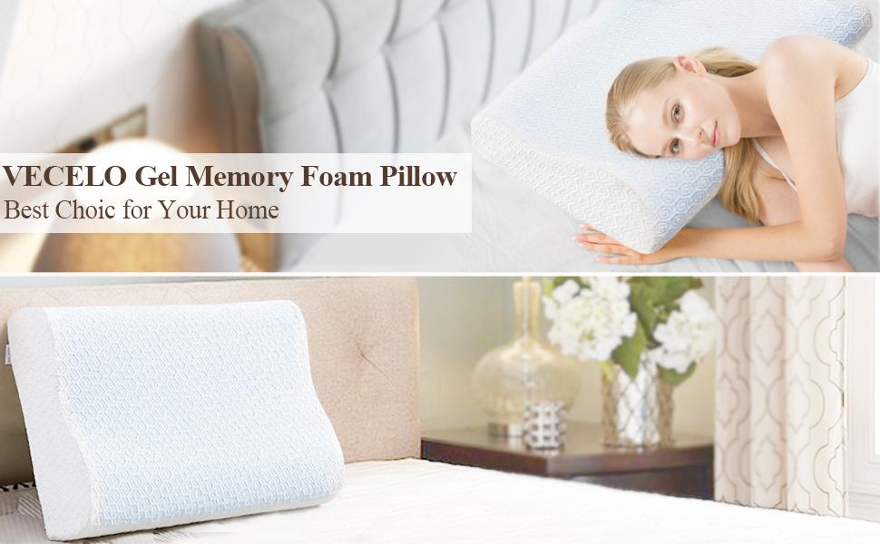 vecelo gel memory foam pillow