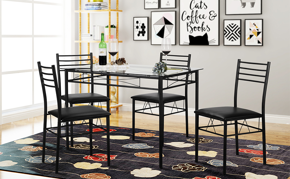VECELO Dining Table Set, Black