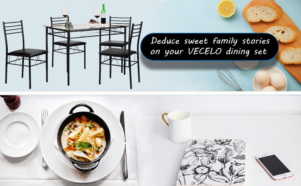Amazoncom VECELO Dining Table with 4 Chairs Black  : No0WY7RzQV23UX970TTW from www.amazon.com size 970 x 600 jpeg 102kB