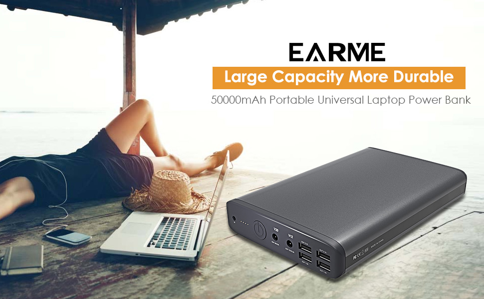 [Update]EARME 50000mAh portable charger 6 Port(5/12/20v) Portable Charger External Battery with 14 Connector for Laptop&Notebook-Most of Sony Dell Hp Toshiba Samsung Lenovo Mobile Phone Tablet