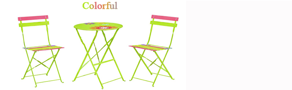 Tremendous 3 Piece Outdoor Folding Patio Bistro Set Portable Metal Furniture Table And 2 Chairs Sets Perfect For Backyard Balcony Porch Colorful Cjindustries Chair Design For Home Cjindustriesco