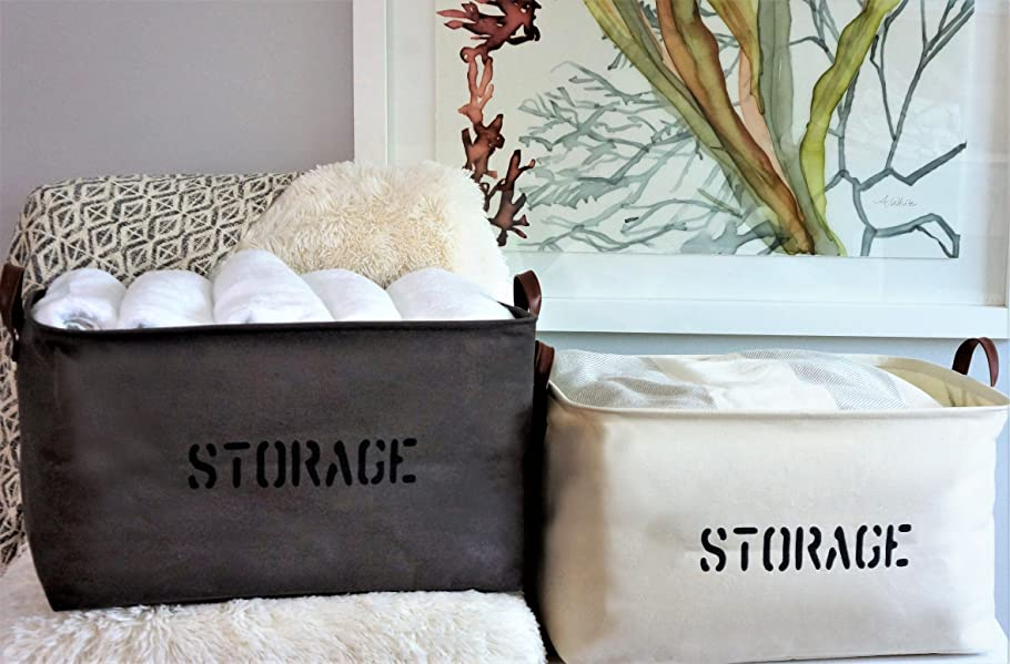 Organizer Logic Gray And Natural Canvas STORAGE Baskets Are Exactly What  You Need To Keep You Organized!