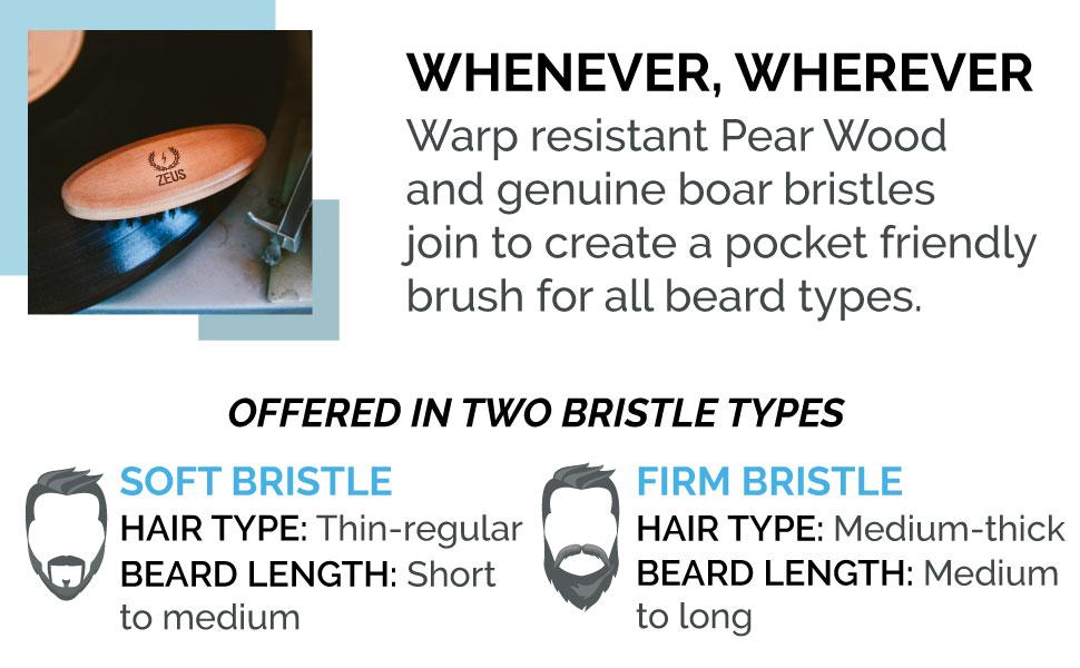 ZEUS 100% Boar Bristle Pocket Beard Brush for Men, Travel Beard Hair Brush  - Made in Germany (FIRM