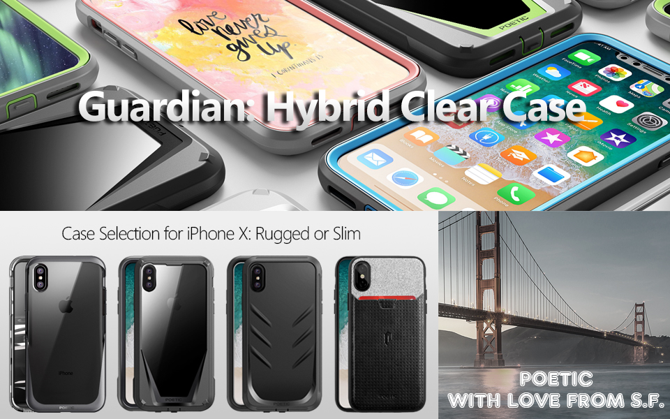 quality design 0b1a4 4e900 iPhone Xs Case, iPhone X Case, Poetic Guardian [Scratch Resistant Back]  [Built-in-Screen Protector] Full-Body Rugged Hybrid Bumper Clear Case for  ...