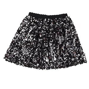 Flofallzique Girls Sequins Skirts Mini Toddler Dance Skirt for 4-12 Years Old