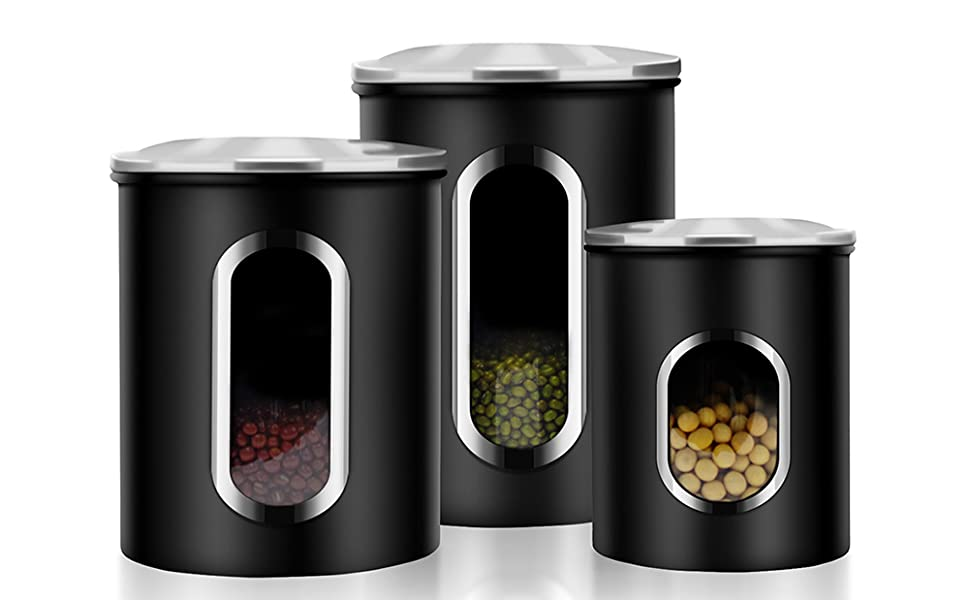 Canisters Set, 3 Piece Window Kitchen Canister with Fingerprint Resistance  Lids, Black
