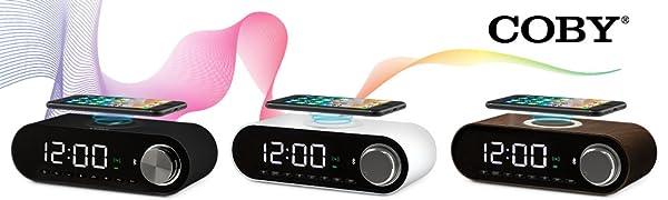 COBY Digital LED Alarm Clock Built In 10W HD Bluetooth Speakers FM Radio QI Certified
