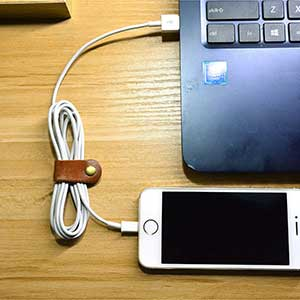 Leather cord organizer headphone