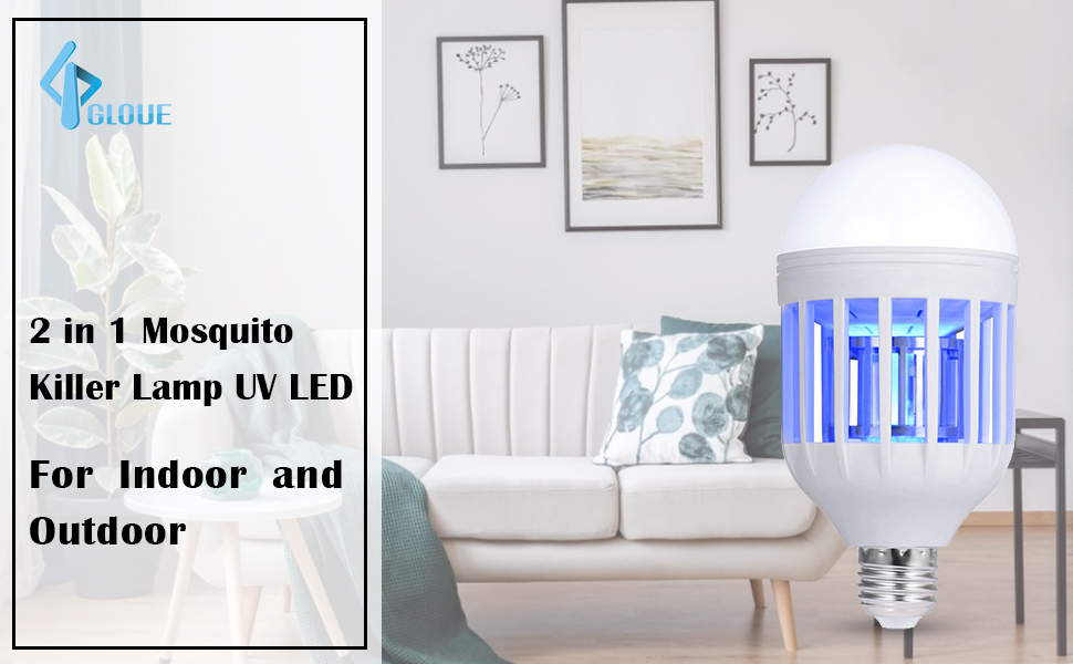 2 in 1 Mosquito Killer Lamp UV LED Electronic Insect & Fly Killer for  Indoor and Outdoor E26/E27
