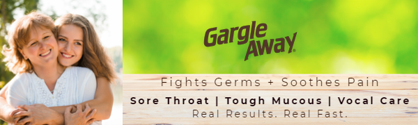 Mom & daughter smiling feeling healthy outdoors - Gargle Away fights germs + soothes pain