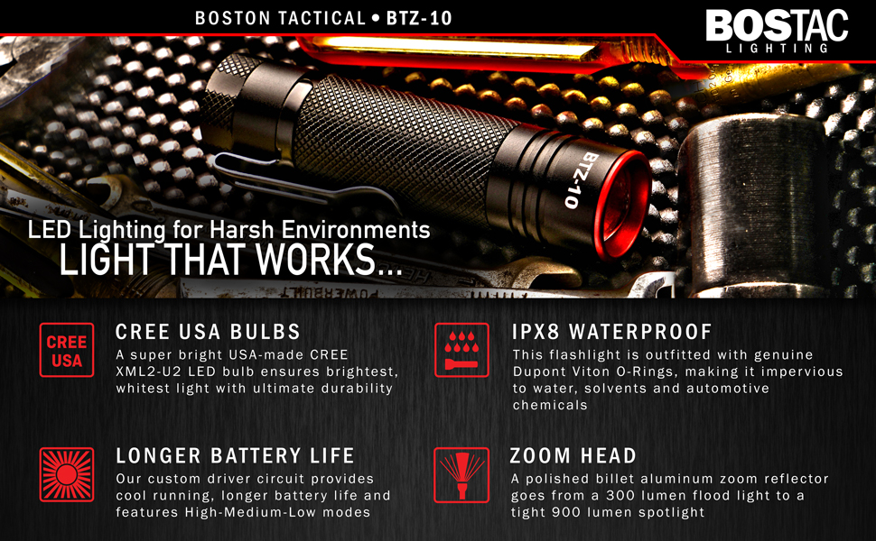 Lumens flashlight boston tactical grease oil zoom brightest best metal aluminum brightest battery