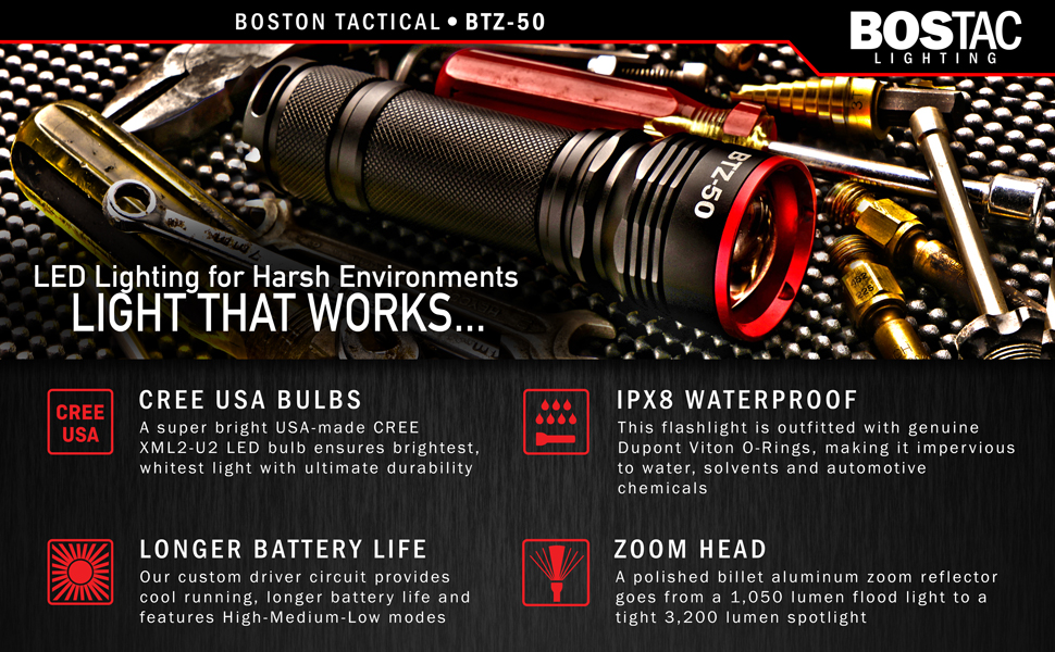 Bostac Btz 50 Tactical Flashlight Professional Hand