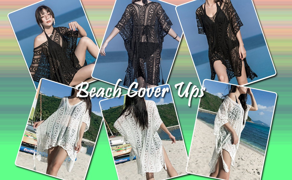 3de951cd2f LOMON Beach Swimsuit for Women Sleeve Coverups Bikini Cover up Net ...