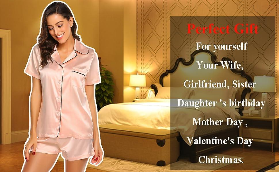 8824cc03999bd9 Women's Summer Short Pajama Set Satin Pyjama Button Sleepwear Lounge ...