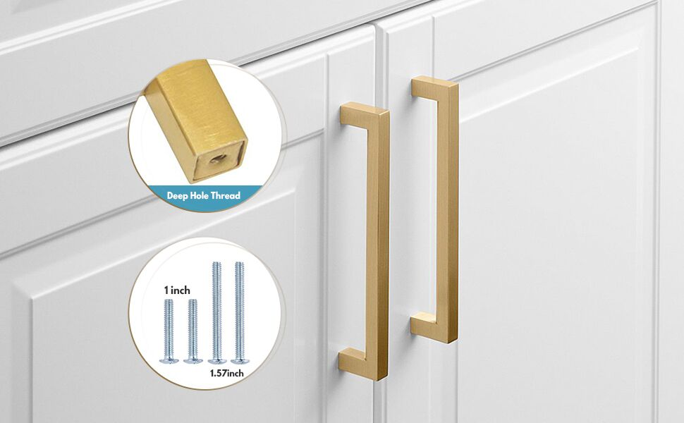 gold kitchen handles square brushed brass