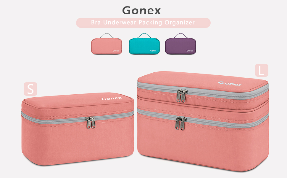 Gonex Bra Underwear Packing Organizer Storage Bag, Travel Lingerie Pouch Size L