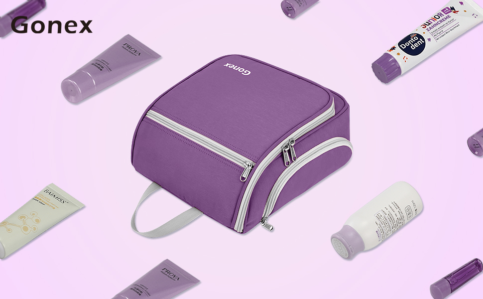 Gonex Hanging Toiletry Bag, Travel Organizer Bag for Makeup and Toiletries, Men and Women Purple