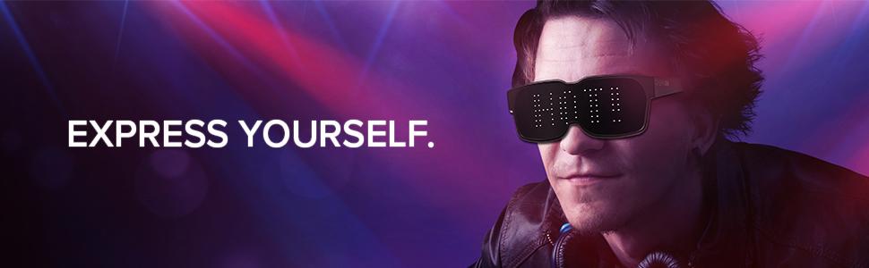 446c13743b Amazon.com  CHEMION - Customizable Bluetooth LED Glasses for Raves ...