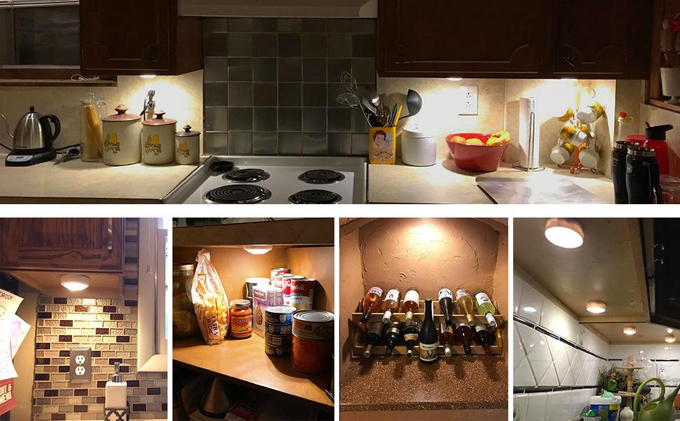 Beau ARVIDSSON Under Cabinet Light, Battery Powered U0026 Remote Control LED Puck  Lights 6 Pack