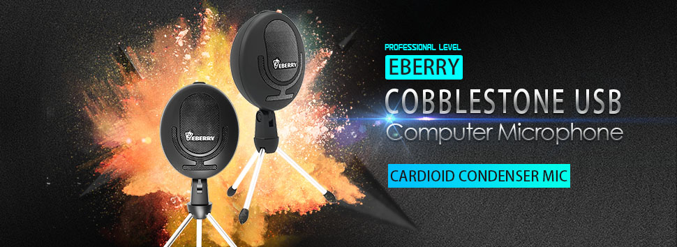 eBerry Cobblestone Microphone Black Cardioid USB Microphone Studio Condenser Mic Recording Microphone for Computer Windows//Mac Desktop Laptop