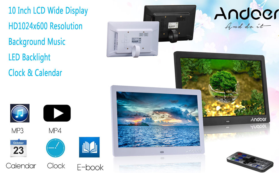 Amazon.com : Andoer HD LCD Digital Photo Picture Frame 10 inch Wide ...