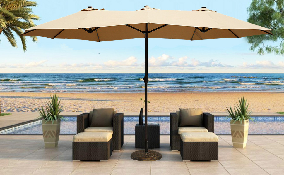 Outdoor Umbrella With Lights Amazon le papillon 14 ft market outdoor umbrella double sided our outdoor patio umbrellas are styled with the classic and elegant look that accents any outdoor setting featured with fade and mildew resistant canopy workwithnaturefo