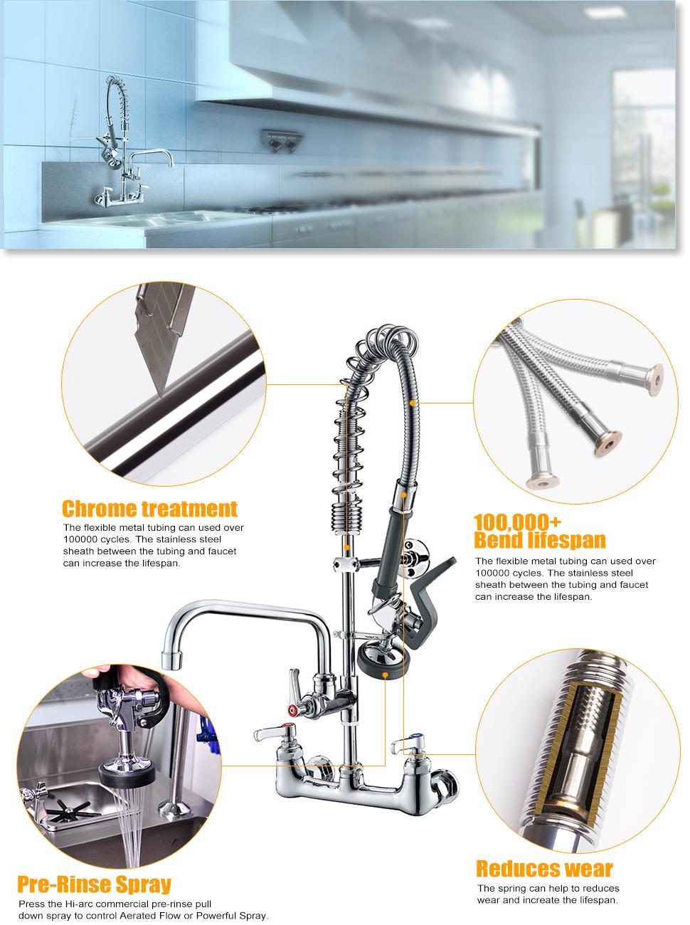 JZBRAIN Double Handle Commercial Kitchen Faucet 25\