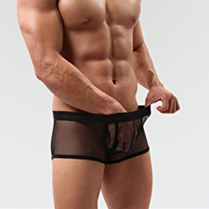 RACHAPE Mens Boxer Briefs with U-Pouch Mesh Ice Silk Underwear Summer