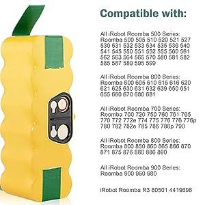Ersatzakku für iRobot Roomba 654 655 660 665 670 700 760 761 765 765P 770 3Ah