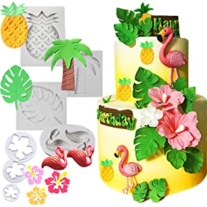 Decorations JeVenis Glitter Flamingo Pineapple Cake Decoration1st Birthday Toppers For Baby ShowerTropical Hawaiian Luau Themed