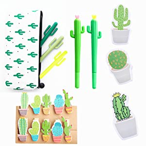 JeVenis 19 Pcs Cactus Ballpoint Pen Cactus Black Ink Writing Pens with Cactus Pencil Pouch Cactus Clip Cactus Notes Sticker for Office School Home ...