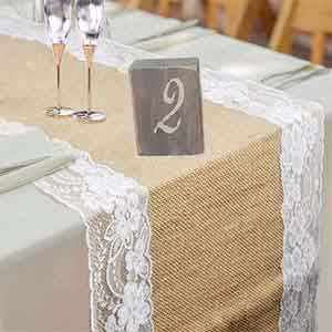 Bon High Quality: Natural Hessian Burlap Table Runner With Beautiful Lace,  Harmless And Safe.