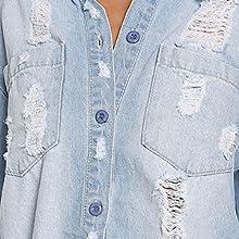 1fd7b2ba3a Meilidress Womens Cold Shoulder Distressed Demin Shirt Dresses ...