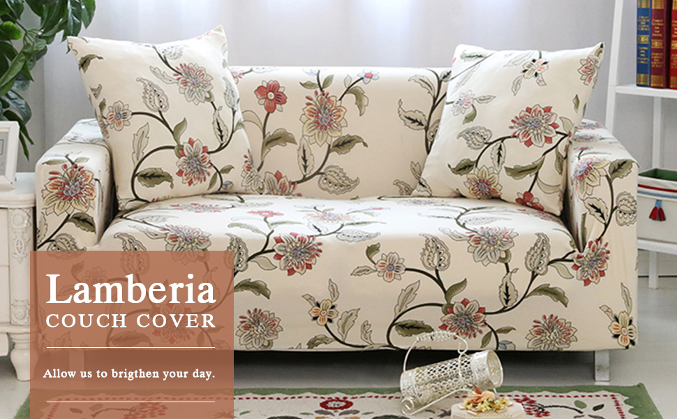 Lamberia Printed Sofa Cover Stretch Couch Cover Sofa Slipcovers for 3  Cushion Couch with One Free Pillow Case (Blooming Flower, Sofa 3 Seater)