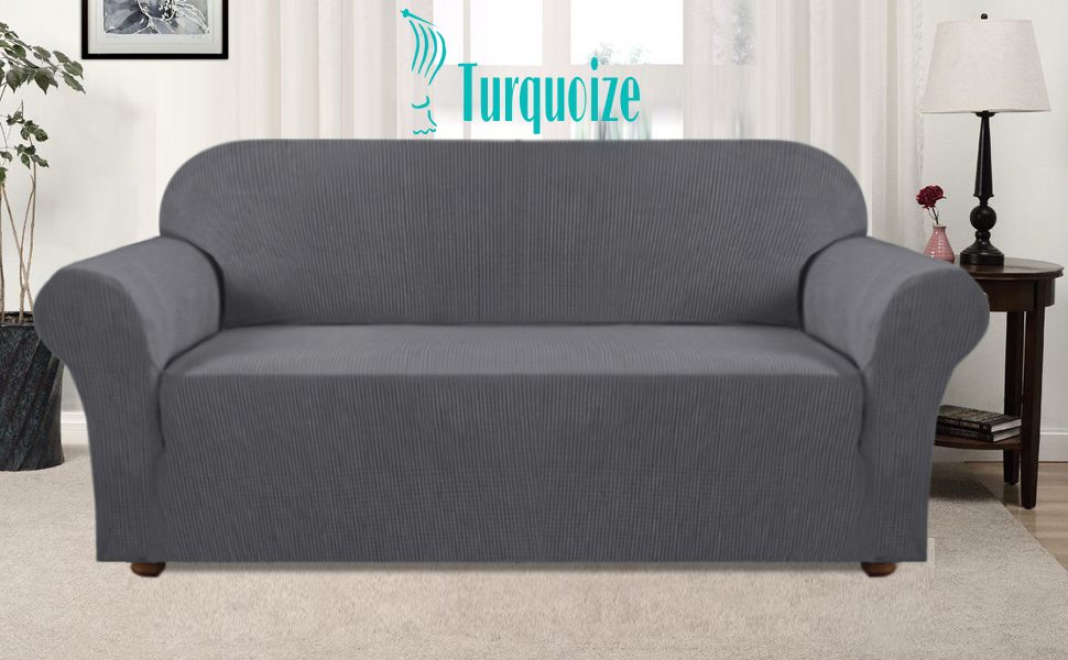 Turquoize Grey Sofa Slipcover High Spandex Jacquard Sofa Cover/Lounge Covers/Couch Covers 1 Piece Couch Covers for 3 Seater Cushion Sofa Cover for ...