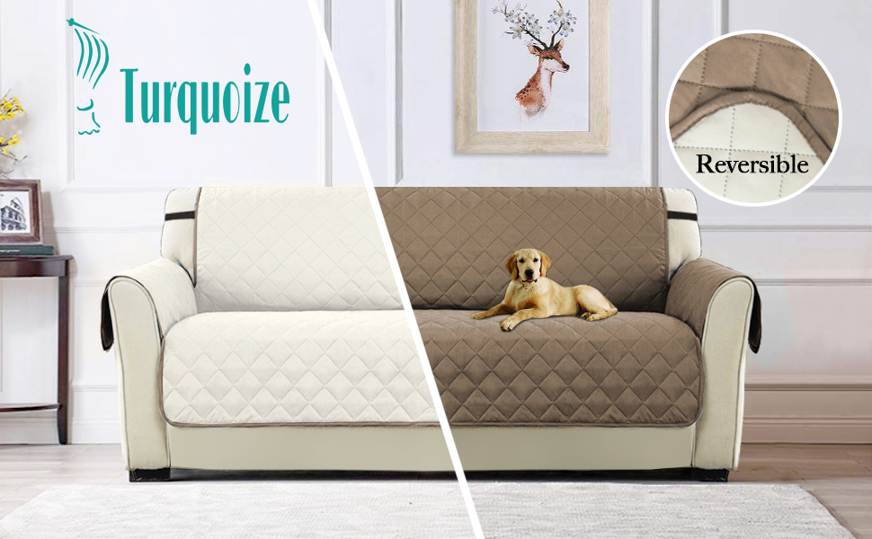 Luxurious Reversible Quilted Furniture Protector Cover, Seat Width Up to 66