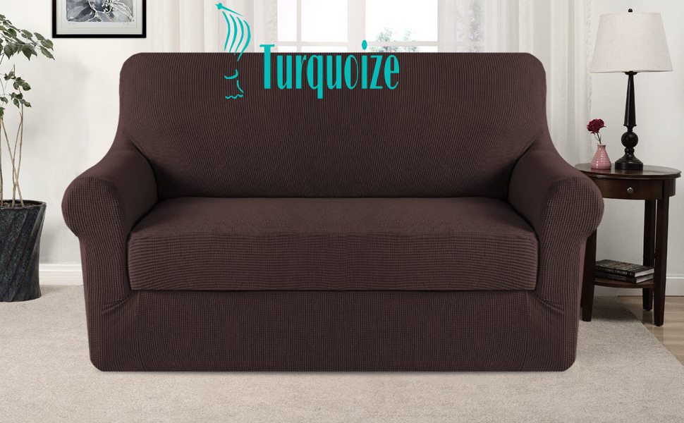 Amazon Com Turquoize 2 Piece Spandex Stretch Sofa Slipcover Sofa