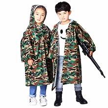 AYUBOOM Children Raincoat,Rainwear with School Bag Cover,Ages 4-14,Lightweight Rain Ponchos to Toddler Ocean L Boys,Girls