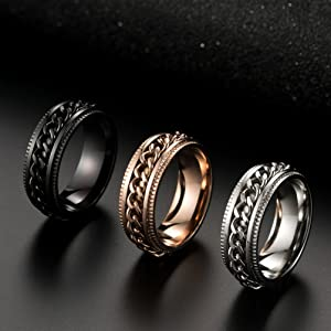 rose gold spinner ring for women gay lesbian wedding band curb chain spinner rings