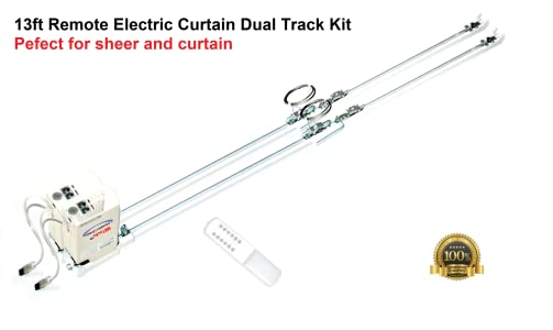 "Remote Control Motorized Curtain Dual Tracks 2-7 Metres 276/"" 2 tracks"