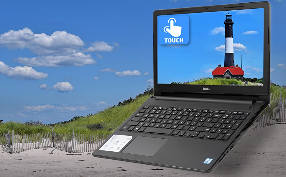 "Dell Inspiron 15.6"" Touchscreen Laptop front view with stunning visuals touchscreen highlight"