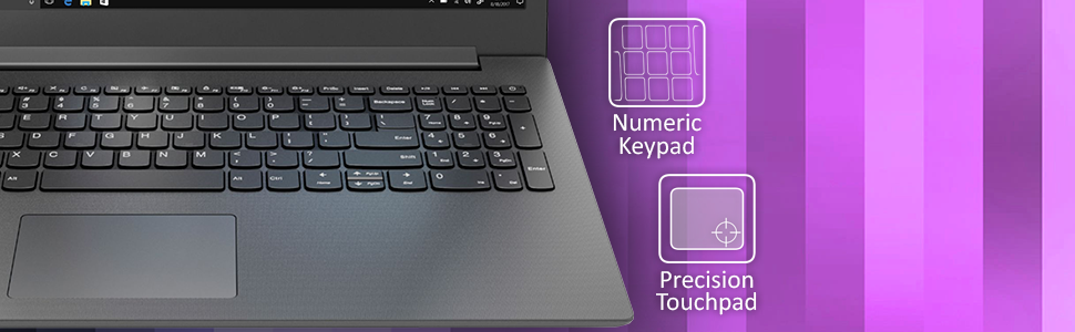 """Lenovo 130 Notebook, 15.6"""" HD keyboard highlight with labels for multi touch and numeric keypad"""