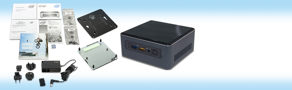 Intel NUC NUC7i7BNH Mini PC i7-7567U box contents image with design highlight. International plugs.