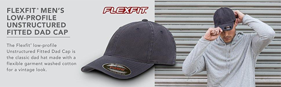 de5e469d5b51cb flexfit men's low profile unstructured fitted dad cap garment washed  vintage look classic