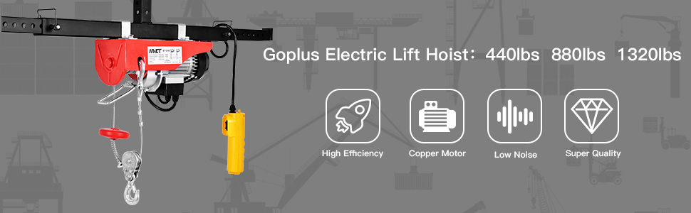 goplus lift electric hoist garage auto shop electric wire hoist overhead lift w remote control (1320lbs)