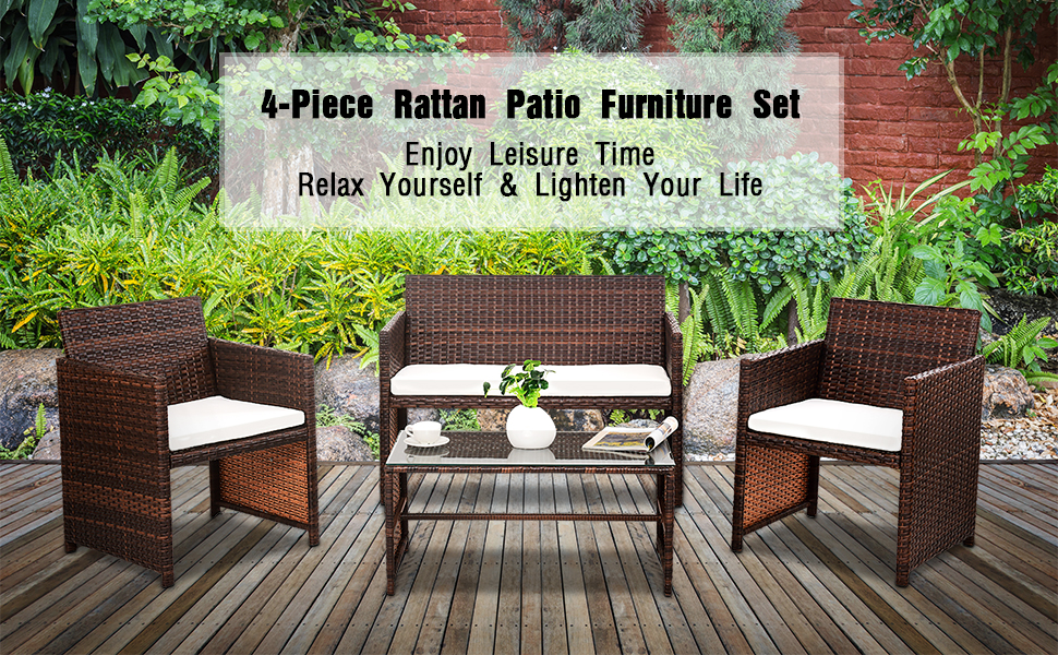 Enjoyable Goplus Rattan Sofa Furniture Set Outdoor Garden Patio 4 Piece Cushioned Seat Mix Brown Wicker Gmtry Best Dining Table And Chair Ideas Images Gmtryco