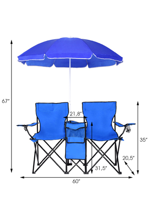 Goplus Double Folding Picnic Chairs w/Umbrella Mini Table Beverage Holder Carrying Bag for Beach Patio Pool Park Outdoor Portable Camping Chair (Blue ...