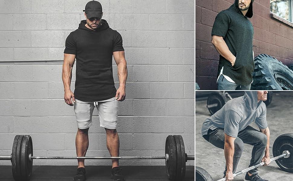 Mens Hipster Hip Hop Workout Short Sleeve Hoodies Pullover Hooded Gym Sweatshirts Kanga Pocket